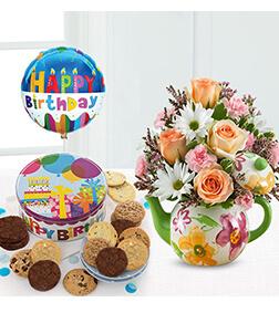Birthday Teapot Blooms, Cookies &  Balloon Bundle