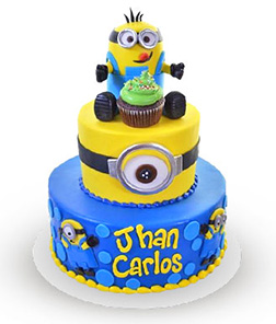 Minion madness Tiered Birthday Cake