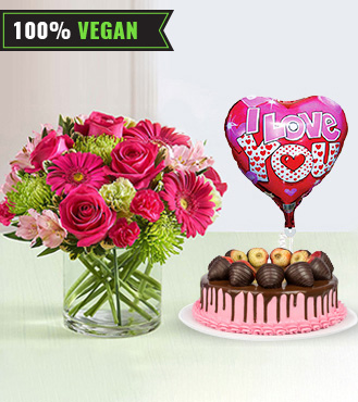 With All My Heart - Pink Bouquet, Vegan Cake, Love Balloon