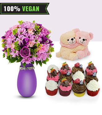 You & Me - Lovely Bouquet, Vegan Cupcakes, Teddy Bears