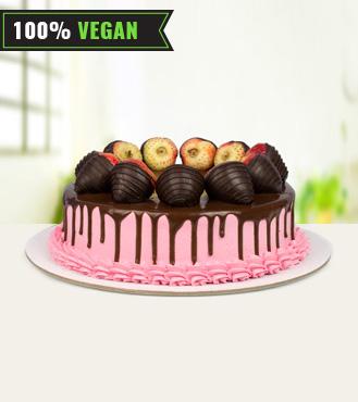 Vegan Strawberry Chocolate Cake - 1Kg