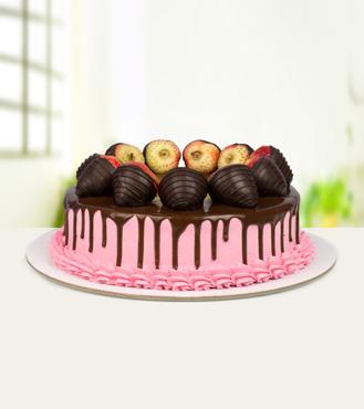 Eggless Strawberry Chocolate Cake - 1Kg