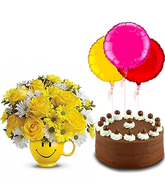 Be Happy Birthday Surprise FlowersSignature Chocolate Cake And Balloons