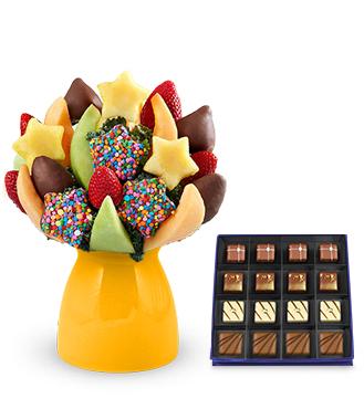 Scrumptious Surprise Fruit Bouquet with Guilty Pleasures Chocolate Box