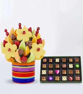 Sweet & Delicious Fruit Bouquet with The Prestige Chocolate Box