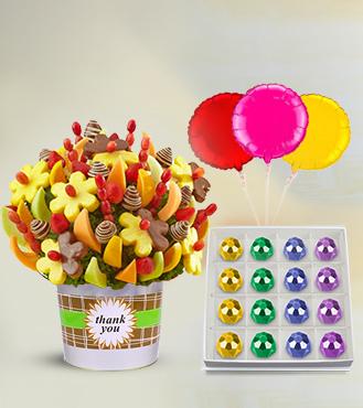 Thank You Fruit Bouquet, Treasured Delicacies Gemstone Chocolates & Balloon Bouquet