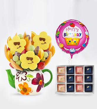 Smiley Teapot Fruit Bouquet, Gourmet Gratitude Chocolates & Birthday Balloon