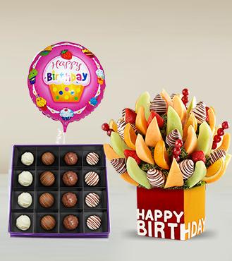 Birthday Fruit Bouquet, Imperial Truffles Box & Birthday Balloon