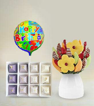 Dashing Daisies Fruit Bouquet, Artisanal Excellence Chocolates & Birthday Balloon