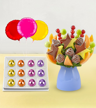 Beautiful Day Fruit Bouquet, Ornate Gemstones Chocolate Box & Balloon Bouquet