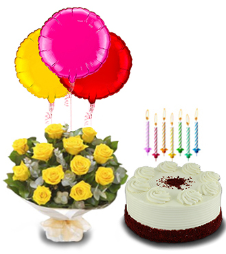 Birthday Surprise Collection : Red Velvet Dream Cake, Dozen Yellow Rose Bouquet