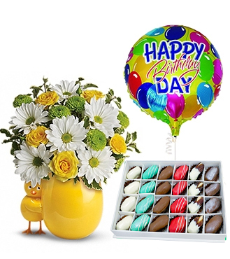 Sunny Birthday Surprise Collection with Decadent Dipped Dates Box and Balloon