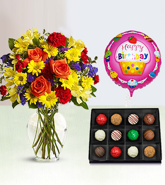 Fly Away Birthday Bouquet with The Continental Truffles Box & Birthday Balloon