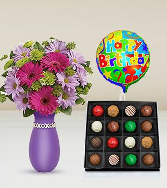 Thanks A Daisy Bouquet, Magnum Opus Truffles Box & Birthday Balloon
