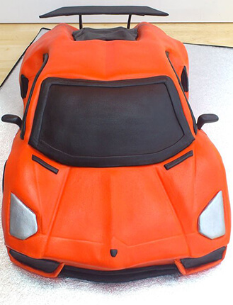 Fire Orange Lambo Birthday Cake
