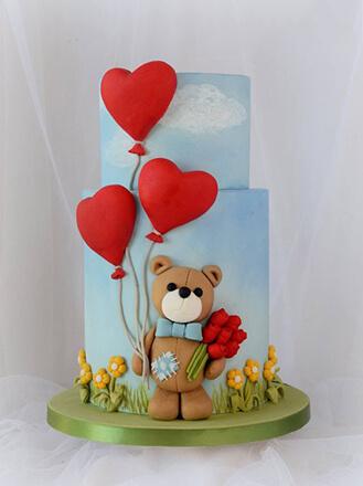 Teddy Bear Heart Cake