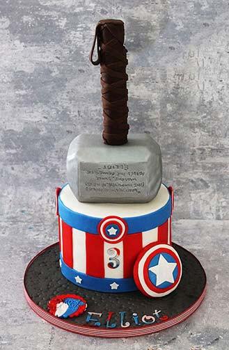 Hammer Meets Shield Avengers Cake Theflowershopae 39856