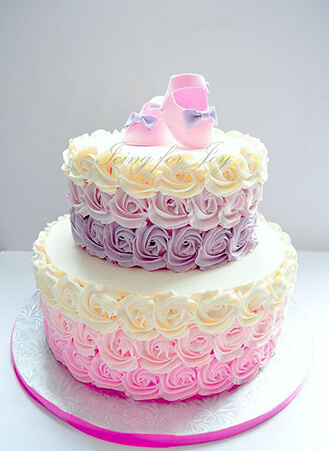 Ombre Rosette Baby Shoes Cake