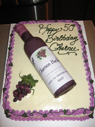 Aged To Perfection Wine Bottle Birthday Cake