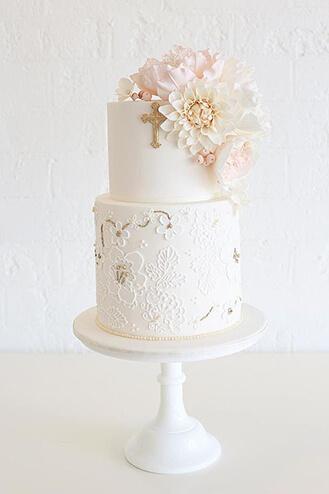 Elegant Floral Christening Cake Theflowershop Ae 39656