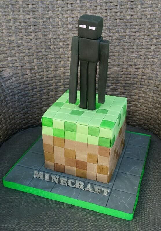 Minecraft Enderman Stare Birthday Cake Broadwaybakery 39478