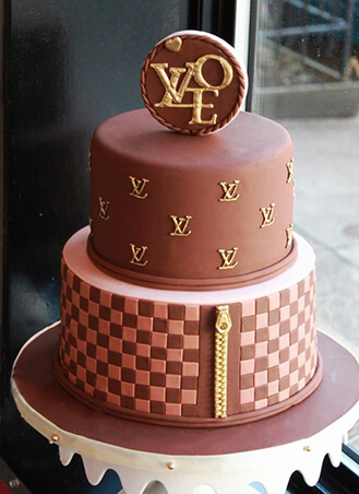 622a40dcd3c8 Tiered Louis Vuitton Logo Cake