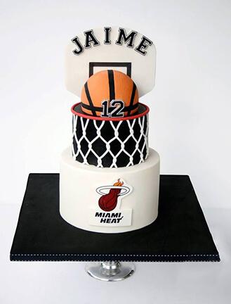 Superb Miami Heat Tiered Cake Broadwaybakery Com 40567 Funny Birthday Cards Online Hendilapandamsfinfo