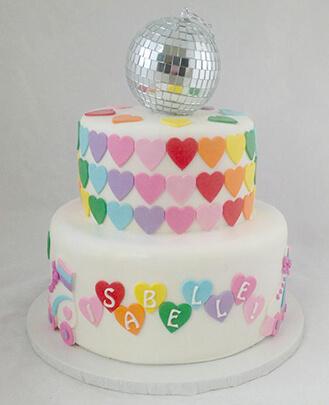Awesome Disco Ball Hearts Cake Broadwaybakery Com 41425 Funny Birthday Cards Online Hendilapandamsfinfo