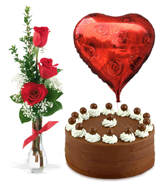 Anniversary Surprise Collection: Three Roses, Signature Chocolate Cake, Heart Balloon