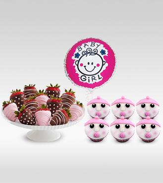 Pink Bundle of Joy : Dozen Strawberries, Cupcakes and Balloon