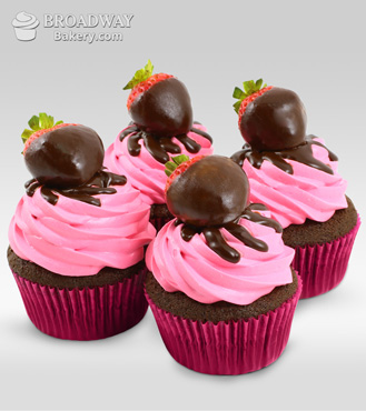 Strawberry Burst - 4 Cupcakes