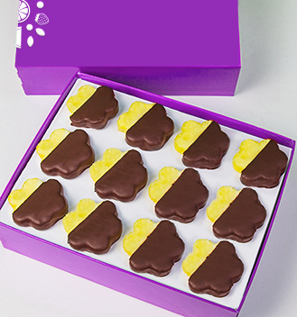 Chocolate Dipped Pineapple Daisies Box - Dozen