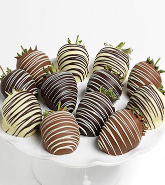 Ultimate Triple Chocolate Covered Strawberries - Dozen