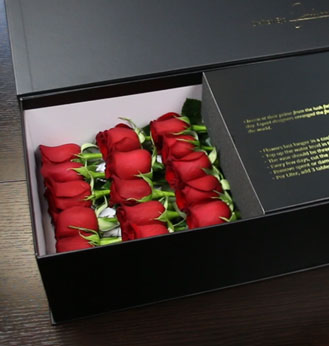 True Love - Long Stem Red Roses in Black Box