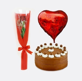 Perfect Romance Collection: Single Red Rose, Signature Chocolate Cake and Heart Balloon