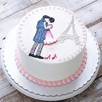 Love in Paris Cake