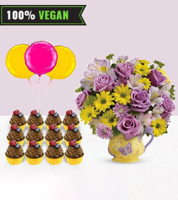 Make Them Smile - Butterflies Bouquet, 12 Vegan Cupcakes, 3 Balloons