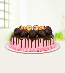 Eggless Strawberry Chocolate Cake - 1Kg