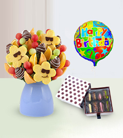Sizzling Sweet Fruit Bouquet with Dates Delights Box and Birthday Balloon