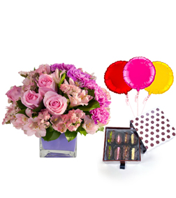 Beautiful Day Bouquet with Dates Delight Box and Balloons
