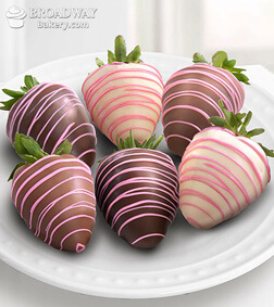 Pink Drizzles - 6 Chocolate Dipped Strawberries
