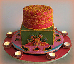 Diwali Lamps Tiered Cake