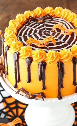 Orange Spider Web Cake