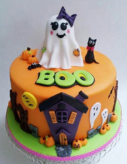 Adorable Ghosts Halloween Cake