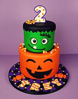 Baby Frankenstein and Jack O Lantern cake