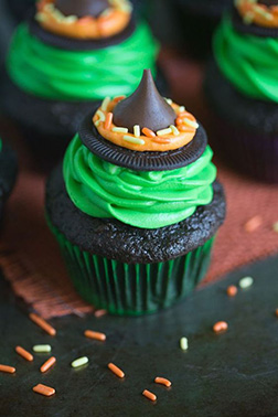 Green Goo Witch Hat Cupcakes
