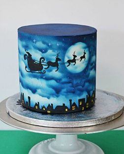 Midnight Blue Christmas Cake