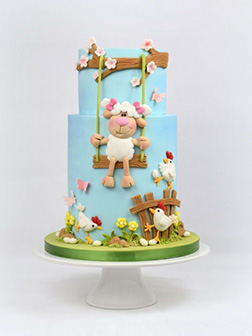 Playful Sheep Easter Cake
