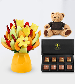 It's Your Day Fruit Bouquet with The Coveted Chocolate Box & Teddy Bear