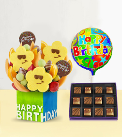 Birthday Treats Fruit Bouquet with Heart of Cocoa Chocolate Box & Birthday Balloo